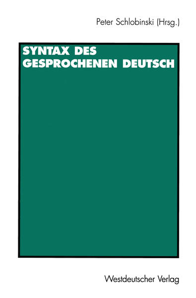 Syntax des gesprochenen Deutsch - Coverbild
