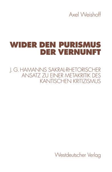 Wider den Purismus der Vernunft - Coverbild