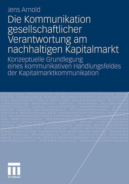 Die Kommunikation gesellschaftlicher Verantwortung am nachhaltigen Kapitalmarkt - Coverbild