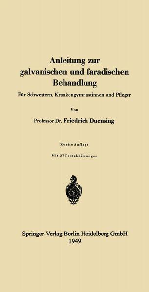 Anleitung zur galvanischen und faradischen Behandlung - Coverbild
