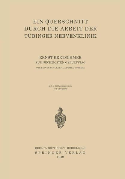 Ein Querschnitt Durch die Arbeit der Tübinger Nervenklinik - Coverbild