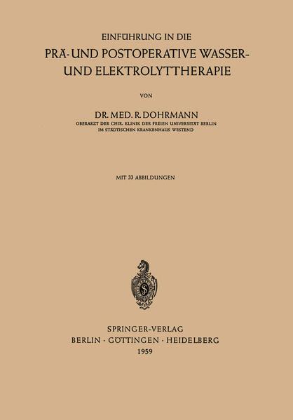 Einführung in die Prä- und Postoperative Wasser- und Elektrolyttherapie - Coverbild