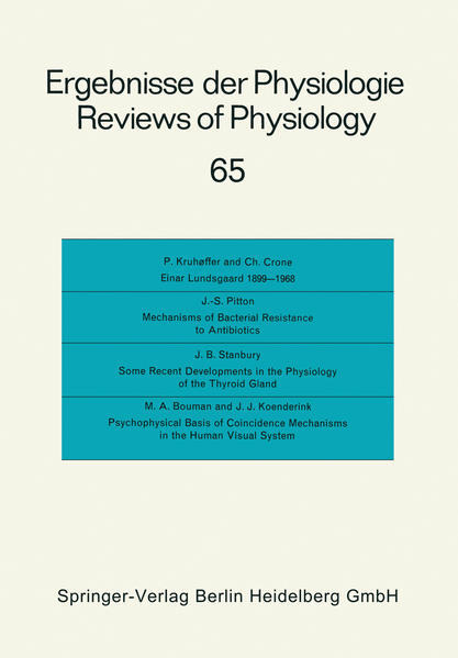 Ergebnisse der Physiologie / Reviews of Physiology - Coverbild