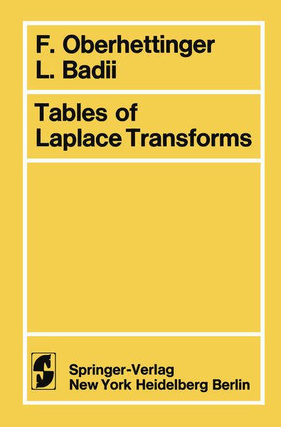 Tables of Laplace Transforms - Coverbild