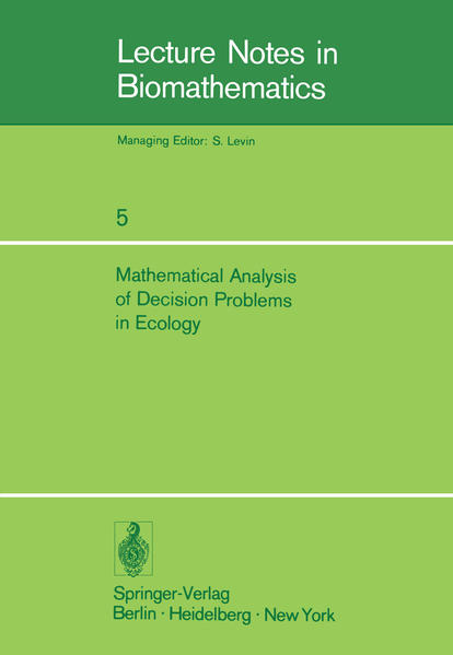 Mathematical Analysis of Decision Problems in Ecology - Coverbild