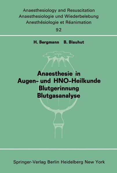 Anaesthesie in Augen- und HNO-Heilkunde Blutgerinnung Blutgasanalyse - Coverbild
