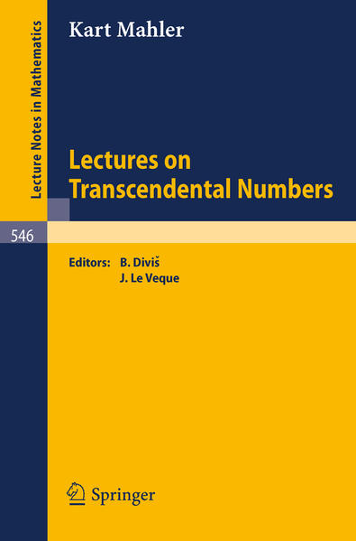 Lectures on Transcendental Numbers - Coverbild