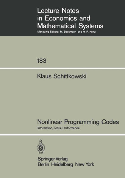 Nonlinear Programming Codes - Coverbild