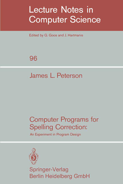 Computer Programs for Spelling Correction - Coverbild