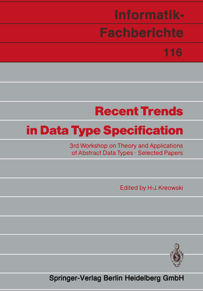 Recent Trends in Data Type Specification - Coverbild