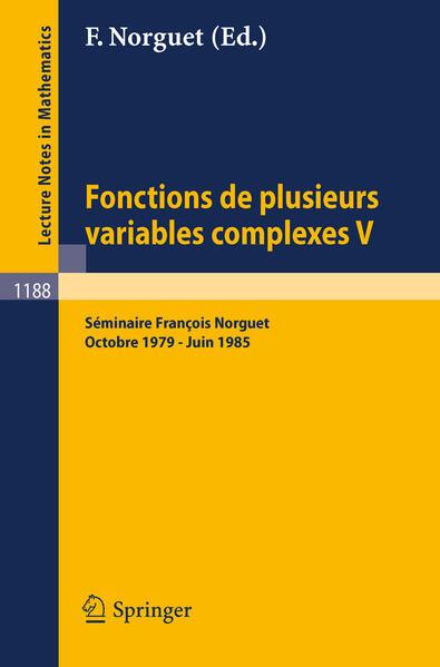 Fonctions de Plusieurs Variables Complexes V - Coverbild