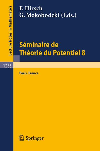 Seéminaire de Théorie du Potentiel, Paris, No. 8 - Coverbild