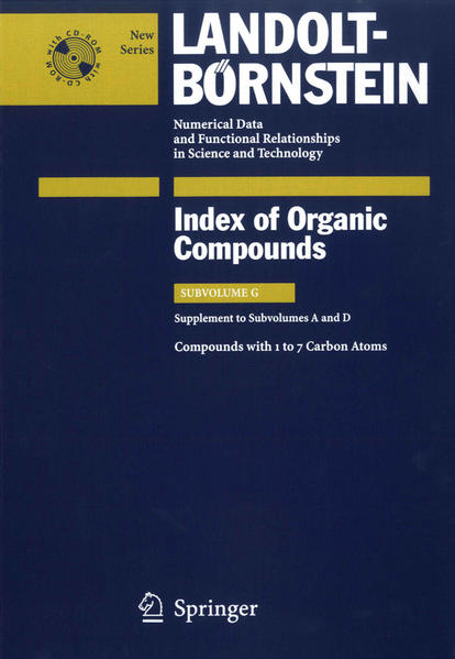 Compounds with 1 to 7 Carbon Atoms (Supplement to Subvolume A and D) - Coverbild