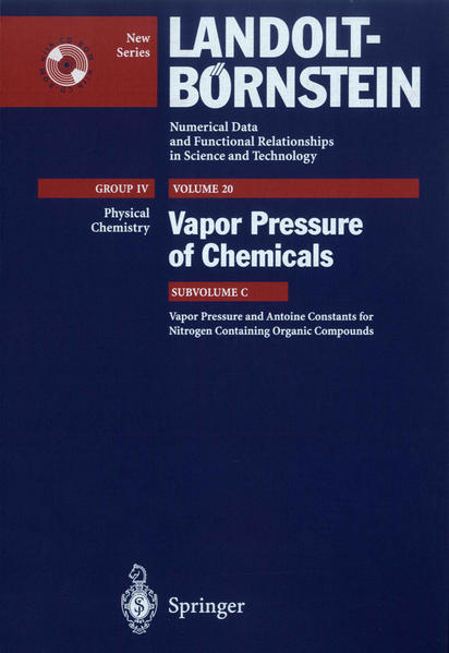 Vapor Pressure and Antoine Constants for Nitrogen Containing Organic Compounds - Coverbild