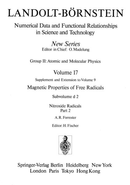 Nitroxide Radicals / Nitroxid-Radikale 2 - Coverbild