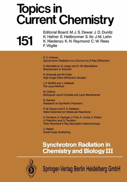 Synchrotron Radiation in Chemistry and Biology III - Coverbild