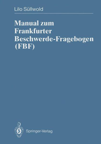Manual zum Frankfurter Beschwerde-Fragebogen (FBF) - Coverbild