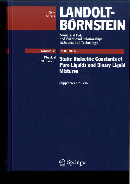 Static Dielectric Constants of Pure Liquids and Binary Liquid Mixtures - Coverbild