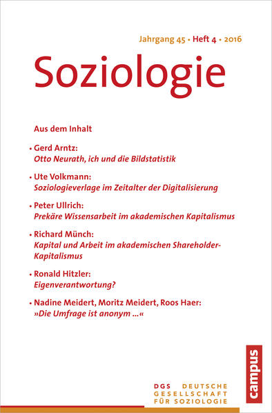 Soziologie Jg. 45 (2016) 4 - Coverbild