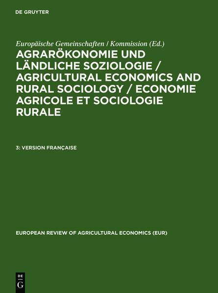 Agrarökonomie und ländliche Soziologie / Agricultural economics and... / Version Française - Coverbild