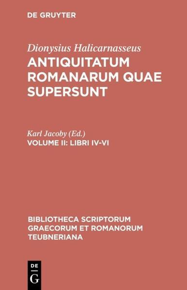 Dionysius Halicarnasseus: Antiquitatum Romanarum quae supersunt / Libri IV–VI - Coverbild