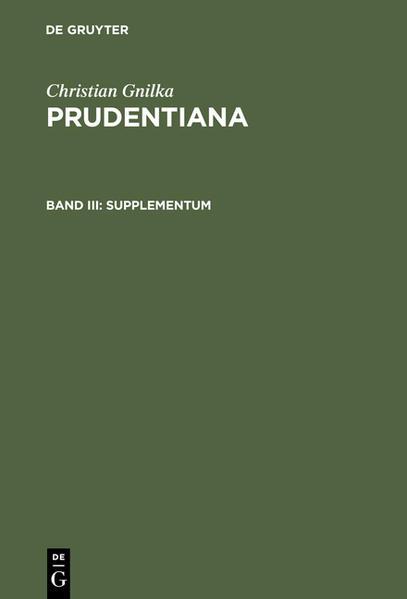 Christian Gnilka: Prudentiana / Supplementum - Coverbild