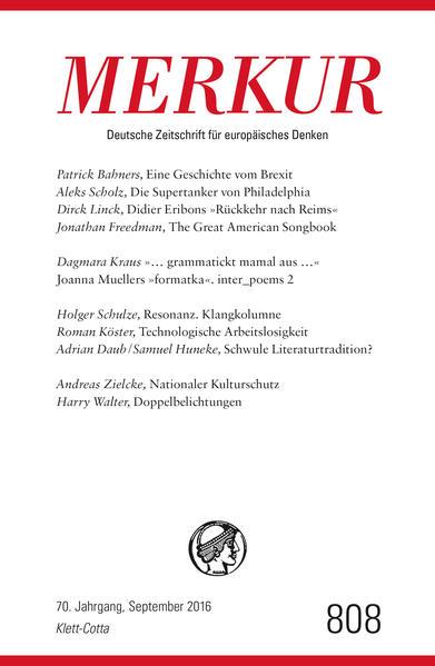 MERKUR Deutsche Zeitschrift für europäisches Denken - 2016-09 - Coverbild