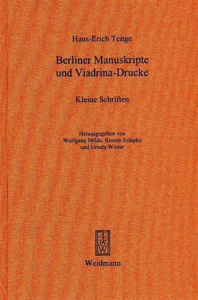 Berliner Manuskripte und Viadrina-Drucke - Coverbild