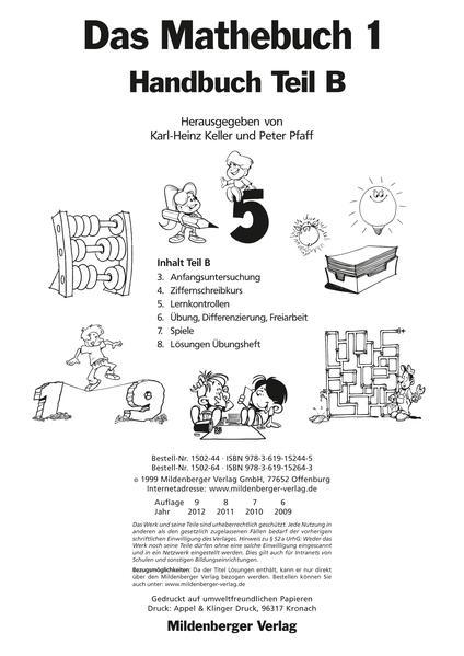 Das Mathebuch - Ausgabe für Baden-Württemberg /Berlin  /Brandenburg... / Das Mathebuch 1, Handbuch Teil B - Coverbild