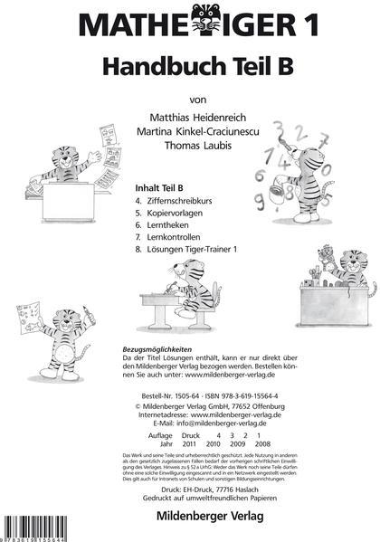 Mathetiger 1 - 1. Schuljahr. Ausgabe für alle Bundesländer / Mathetiger 1, Handbuch Teil B · Erstausgabe - Coverbild
