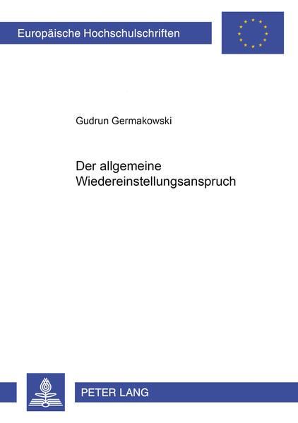 Der allgemeine Wiedereinstellungsanspruch - Coverbild