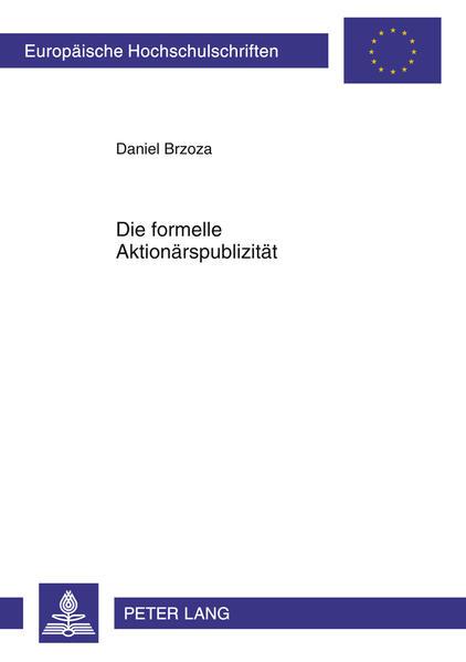 Die formelle Aktionärspublizität - Coverbild
