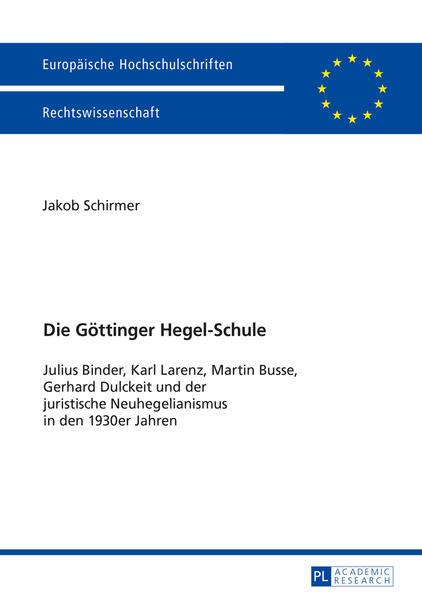 Die Göttinger Hegel-Schule - Coverbild