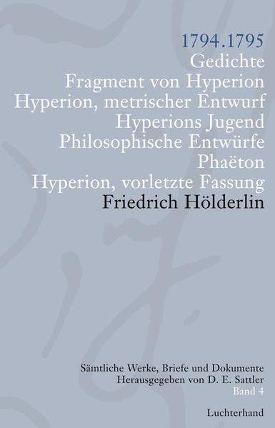 Sämtliche Werke, Briefe und Dokumente. Band 4 - Coverbild