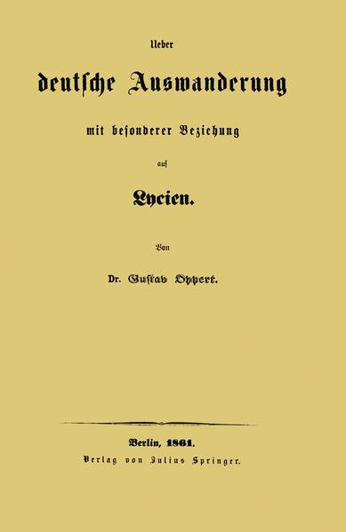 Ueber deutsche Auswanderung mit besonderer Beziehung auf Lycien - Coverbild