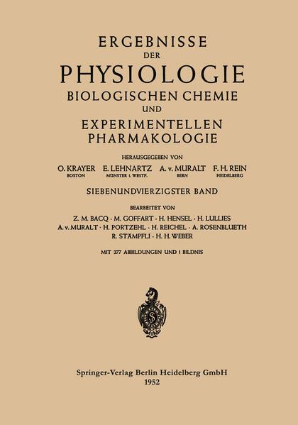 Ergebnisse der Physiologie Biologischen Chemie und Experimentellen Pharmakologie - Coverbild
