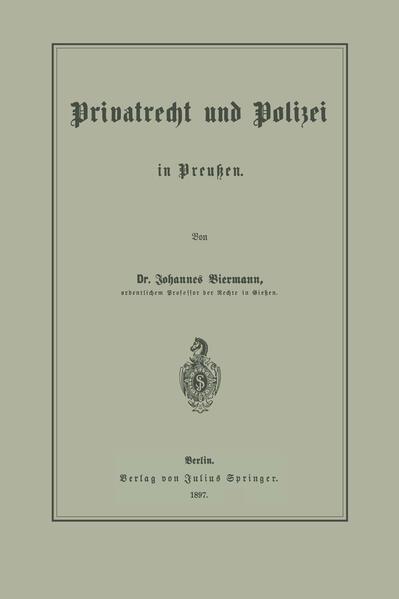 Privatrecht und Polizei in Preußen - Coverbild