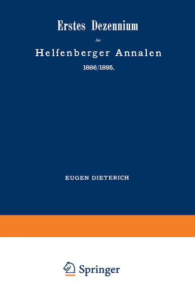 Erstes Dezennium der Helfenberger Annalen 1886/1895 / Helfenberger Annalen 1896 - Coverbild
