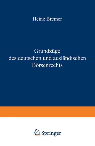 Grundzüge des deutschen und ausländischen Börsenrechts - Coverbild