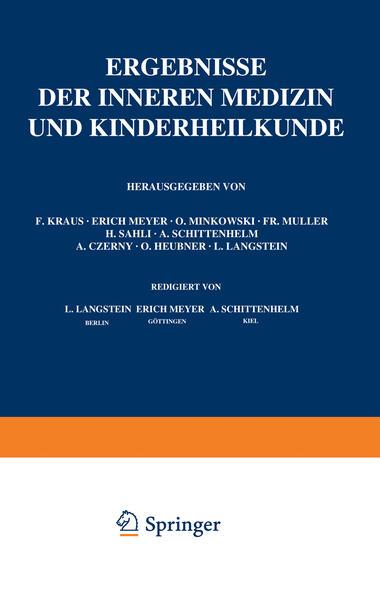 Ergebnisse der Inneren Medizin und Kinderheilkunde - Coverbild