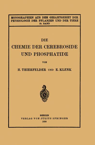 Die Chemie der Cerebroside und Phosphatide - Coverbild