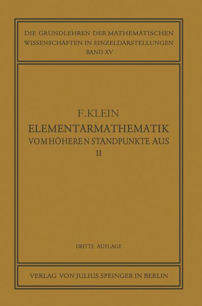 Elementarmathematik vom Höheren Standpunkte Aus, II - Coverbild