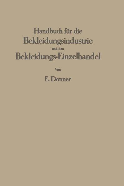 Handbuch für die Bekleidungsindustrie und den Bekleidungs-Einzelhandel - Coverbild