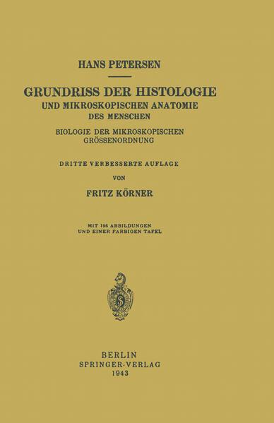 Grundriss der Histologie und Mikroskopischen Anatomie des Menschen - Coverbild