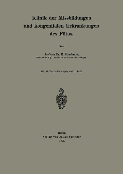 Klinik der Missbildungen und kongenitalen Erkrankungen des Fötus - Coverbild