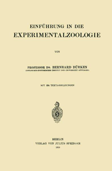 Einführung in die Experimentalzoologie - Coverbild