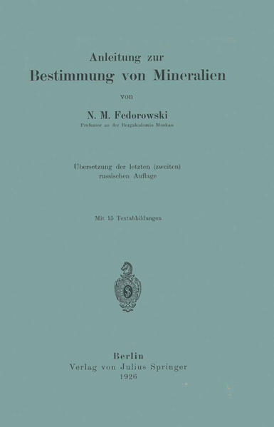 Anleitung zur Bestimmung von Mineralien - Coverbild