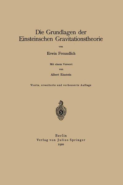 Die Grundlagen der Einsteinschen Gravitationstheorie - Coverbild