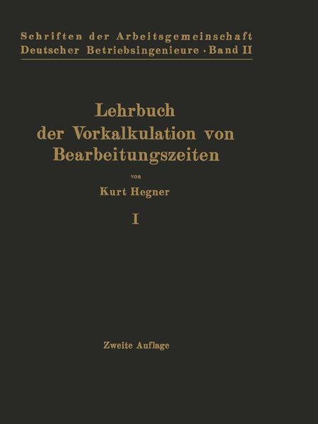 Lehrbuch der Vorkalkulation von Bearbeitungszeiten - Coverbild