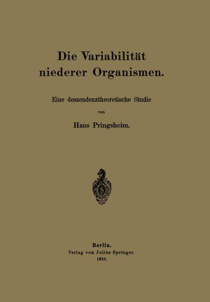 Die Variabilität niederer Organismen - Coverbild